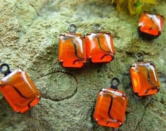Vintage Translucent Orange Glass 10x8mm Octagon Drops 6 Pcs