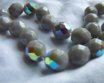 Fire Polished 8mm Opaque Grey AB Glass Beads 25 Pcs