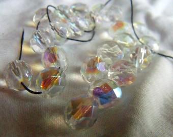 Crystal AB 8mm Fire Polished Beads 25 Pcs