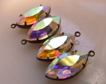 Crystal AB 18X9mm Navette Glass Drops 4 Pcs
