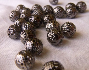 Gunmetal 8mm Filigree Spacer Bead 8mm Rounds 25 pieces