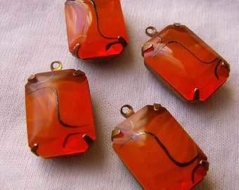 Orange Translucent 18x13 Octagon Vintage Glass Drops 4 Pcs