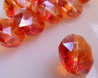 Fire Opal Luster 20mm Crystal Buttons 6 Pcs