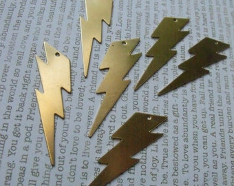 Big Lightning Bolt 40mm Brass Charms 6 Pcs