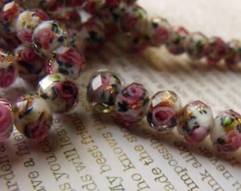 White Wedding Cake Lampwork 10x7mm Fire Polished Rondelle Beads 15 Pcs