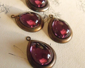 Amethyst 18x13mm Bombe Pear and Brass Ox Drops 4 Pcs