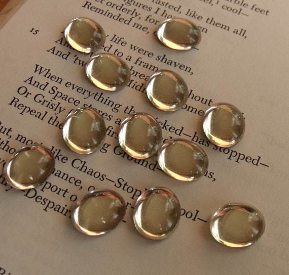 Crystal Vintage Glass Foiled 12x10mm Oval Cabochons 10 Pcs