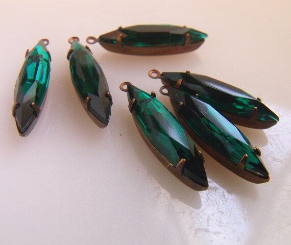 Emerald Green 24X6 Vintage Glass Navette Earring Drops 6 Pcs