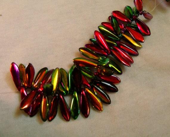 Peacock Beads- Marea Multicolored Peacock Gold Dagger Drops 5x16mm 50 pieces