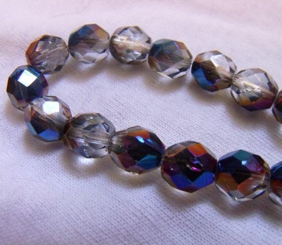 Crystal Azuro Fire Polished 8mm Glass Beads 25 Pcs