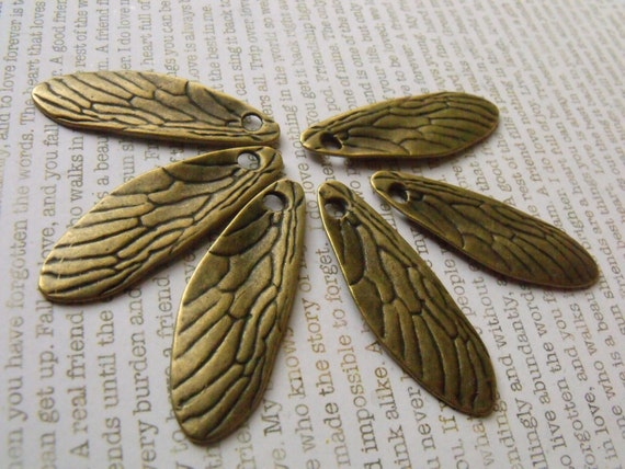 Cicada Wing Charms Antiqued Brass Alloy 6 Pcs