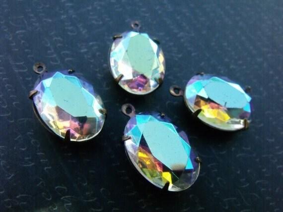 Crystal AB 18X13 Oval Vintage Transparent Glass Drops 4