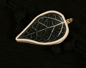 Pendant Only Black and White Leaf
