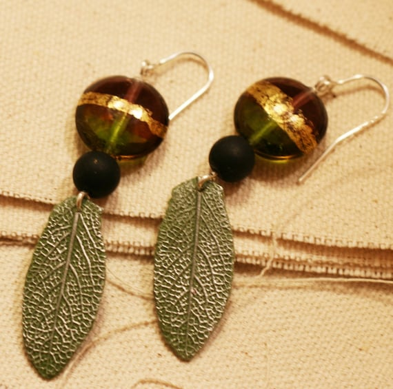 Gold and Sage Leaf Earrings