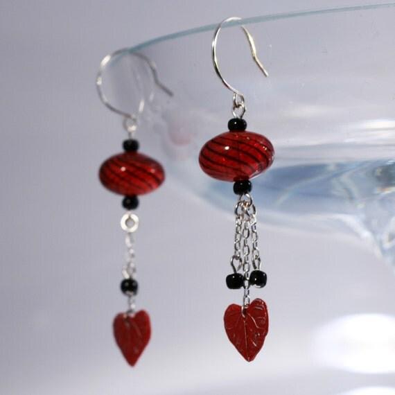 Hearts Desire red burlesque earrings