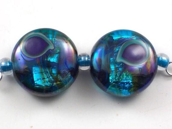 Handmade Lampwork Beads Aqua Peacocks set 2 Earring Pair CD Lampwork
