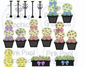 Buy 1 Get 1 Free Boutique Lights & Floral Topiaries Clip Art Graphics