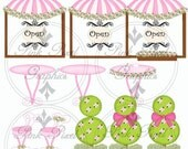 Buy 1 Get 1 Free Pink Boutique Cafe Clip Art Graphic Images Collection - Scrapbooking, Handmade, Crafts, Cards Instant Download