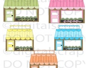 Buy 1 Get 1 Free Parasol Boutique Shops Store Front Trendy Graphics Clip Art Fancy Chic Images Instant Download