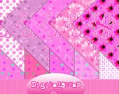 Buy 1 Get 1 Free Pink Butterfly Polka Dot Flower Hearts Digital Scrapbooking 10 Paper Pack 12x12 300 dpi Cu Printable
