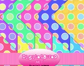 Buy 1 Get 1 Free Rainbow Sundae No.7 Retro Polka Dot Digital Scrapbooking 10 Paper Pack 12x12 300 dpi Cu Printable