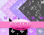 Buy 1 Get 1 Free Lavender Butterfly Heart Flower Digital Scrapbooking 10 Paper Pack INSTANT DOWNLOAD