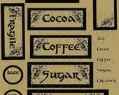 Buy 1 Get 1 Free VicToRian AnTiQue Food & Beverage Vintage Coffee Tea Sugar Cocoa 42 Printable Labels DigitaL Tags ShEEt Set