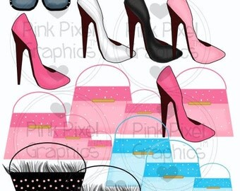 Buy 1 Get 1 Free Hollywood Boutique Purses Shoes Sunglasses Clip Art Graphics Instant Download