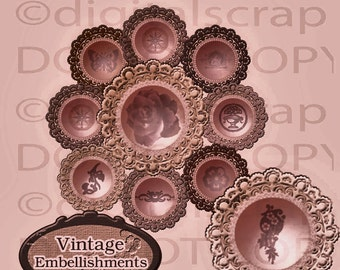 Buy 1 Get 1 Free Vintage Lace Embellishments No.5 Digital Clipart Graphics Personal and Commercial Use