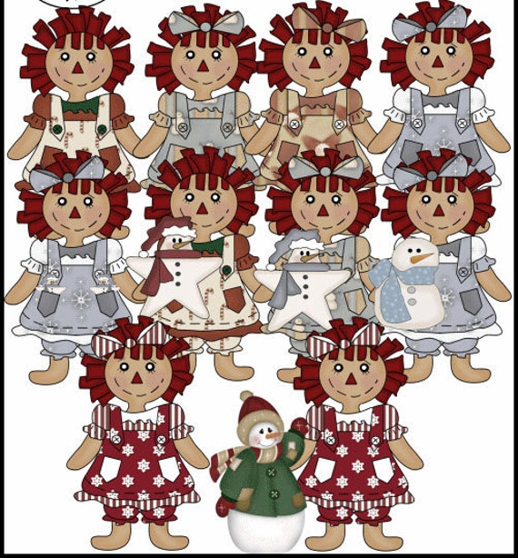 Buy 1 Get 1 Free Primitive Christmas Holiday Raggedies Clip Art Graphics Instant Download