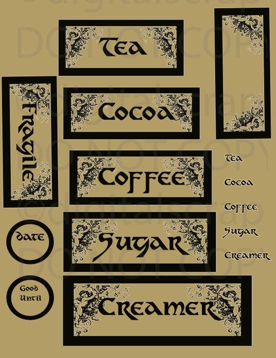 ... Vintage Coffee Tea Sugar Cocoa 42 Printable Labels DigitaL Tags ShEEt