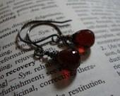 Simple Garnet Drop and Oxidized Silver Earrings