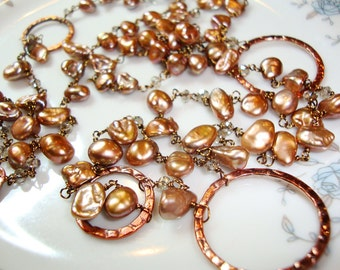 A date with Latte  Light Chocolate Pearls with Art Deco Coppers Long Necklace