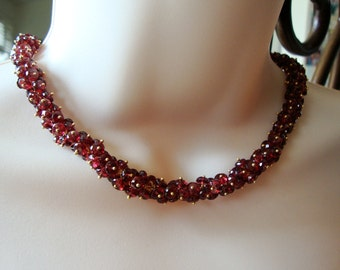Luxurious Red Garnet  Cluster Necklace Ready to Ship