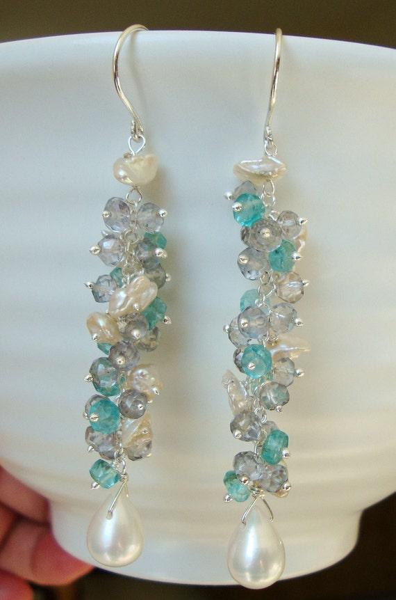 Apatite Pale Slate Blue Quartz and Pearl Cluster Earrings