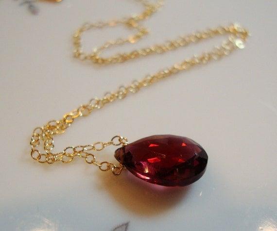 Crimson Red Garnet Solitaire 14K Gold Filled Necklace