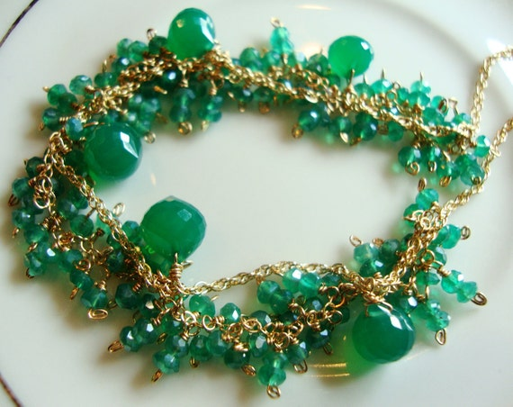 Green Onyx Fringe Style Necklace