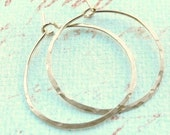 Small hammered gold hoops 14k gold fill one inch hoop earrings
