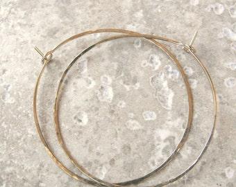 Large gold hoop earrings - big light skinny gold filled hoops slim gold hoops