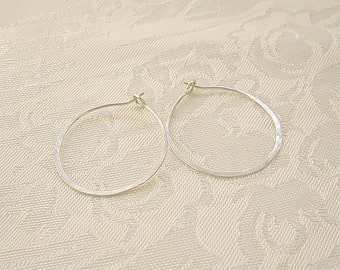 Simple hammered sterling silver hoop earrings medium classic style