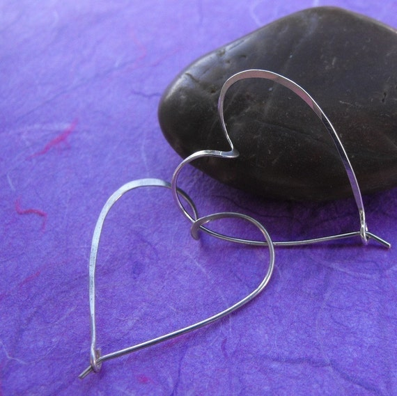 Sterling silver heart hoop earrings - heart jewelry