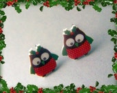 Christmas Owl Earrings
