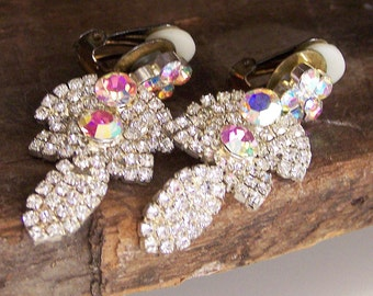 1/2 OFF REDUCED Vintage Rhinestone and Aurora Borealis Clip On Earrings, Etsy Jewelry, Vintage, Jewelry, Gift, Clip Ons, Glitzy Earrings