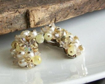 1/2 OFF REDUCED 1950s Laguna Clip On Beaded Earrings, Beaded Earrings, Clip On, Etsy Jewelry, Jewelry, Gift, Vintage, Etsy