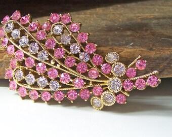 REDUCED, Vintage Pink Rhinestone Brooch, Glam Brooch, Bridal Brooch, Wedding Brooch, Etsy Jewelry, Jewelry, Gift, Brooch, Vintage, Etsy