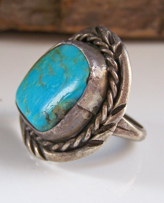 Etsy, REDUCED Vintage Silver Native American Turquoise Ring-- Size 6 1/2, Etsy Jewelry, Jewelry, Vintage, Gift