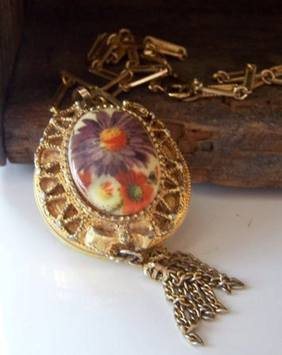 REDUCED Vintage Lucerne Watch Pendant with Floral Filigree Backing, Jewelry, Vintage, Watch, Steampunk, Gift, Etsy Vintage, Etsy Jewelry