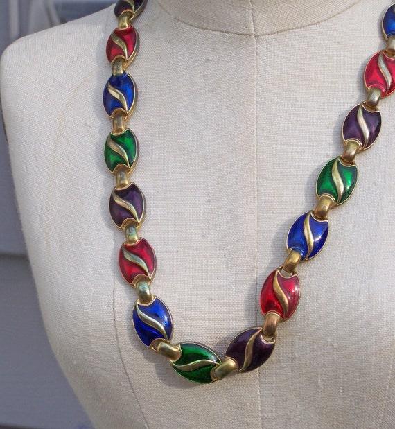 REDUCED, Etsy Vintage, Etsy, Vintage Enamel Linked Necklace, Enamel Necklace, Vintage Necklace, Costume Jewelry, Jewelry, Gift