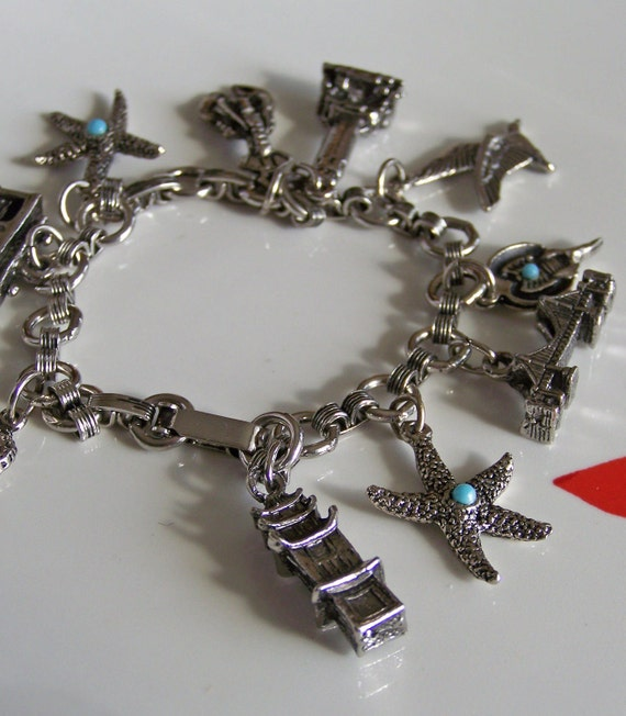 Vintage Charm Bracelet: Silver Charms of Brooklyn Bridge, Chinese Pagoda, Trolley Car and More, Etsy Jewelry, Gift