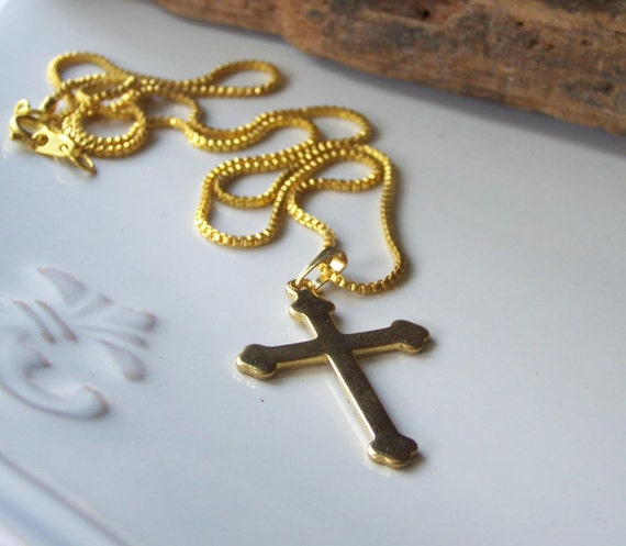 Etsy, Vintage Gold Cross Necklace, Gothic Cross Necklace, Etsy Jewelry, Jewelry, Vintage, Gift, Costume Jewelry, Cross